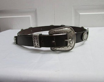 Vintage The Limited Western Concho Dark Brown Leather Belt Small
