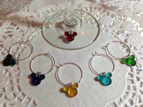 Hidden Mickey Mouse Ears Wine Charms-Bright Colors-Disney Themed Shower-Wedding Party Free Gift Box