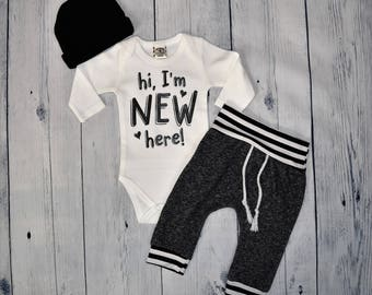 Hi I'm New Here Outfit Baby Boy Outfit Newborn Boy Outfit Coming Home Outfit Take Me Home Set Coming Home Set Newborn Baby Boy