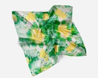 Head scarf, Silk scarf, Neck scarf, Mother's day gift, Hand dyed, Small Square scarf, Boho chic, Arashi Shibori