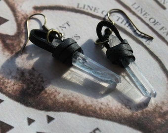 Leather Wrapped Quartz Crystal Earrings