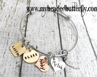 personalized  expandable bracelet-expandable bracelet- bangle- adjustable bangle-bracelet-personalized bracelet-family bracelet-mothers gift
