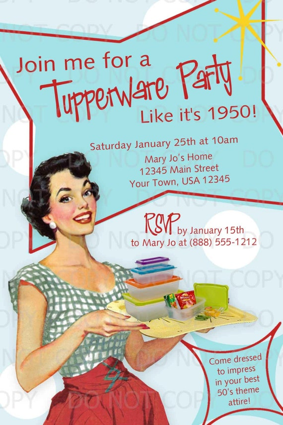 Printable DIY 50s Retro Housewife Theme Tupperware Party