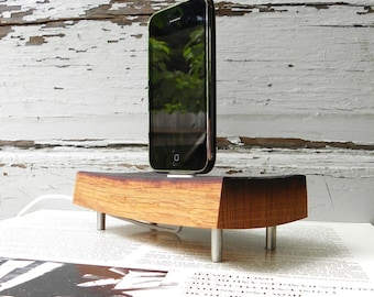 wood ipod and iphone dock charger, reclaimed French oak  wine barrel