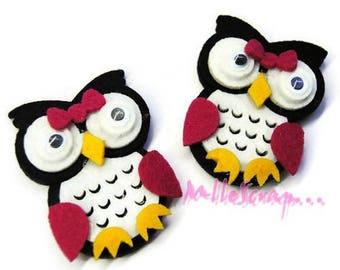 Set of 2 black felt OWL embellishment scrapbooking (ref.310). *.