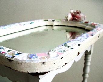 Mosaic Mirror, Mosaic Frame, Broken China Mosaic, Pique Assiette Mirror, Wall Decor, Antique Mirror, Mosaic Art, Home Decor, Antique Mirror