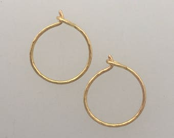 Tiny solid 18k rose gold hammered hoop earrings