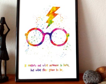 Harry Potter Glasses - Watercolor Art, Print art, Quote prints, Kids Room Decor, Watercolor Painting, Nursery decor, Home decor wall art