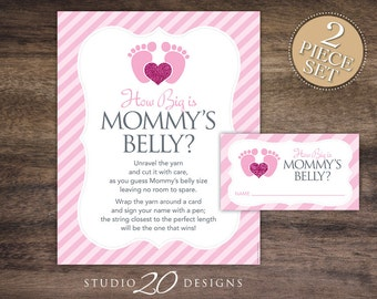 Instant Download Pink Footprints How Big is Mommy's Belly Baby Shower Game, Pink Glitter Bump Game, Baby Feet Guess Tummy Size 75A