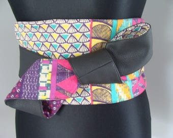 Obi belt reversible printed faux leather