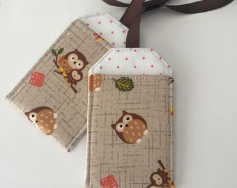Owl Luggage Tag Set, Luggage tags, luggage tag holders, bag tags, Backpack Tag, Cute Luggage tag, Gift under 10, Vegan, Owl Lover gift