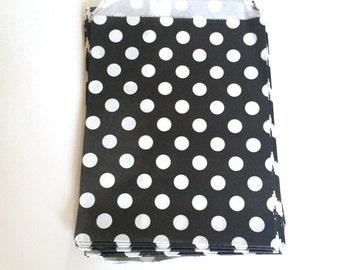 paper bags - treat bag - wedding favor bags - flat paper bag - gift bags - kraft paper bags - polka dot bags - set of 12 bags - black