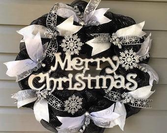 Christmas Wreath for Front Door, Xmas Wreath, Black Silver Christmas Wreath, Christmas Decor, Large Modern Christmas Wreath, Holiday Wreath