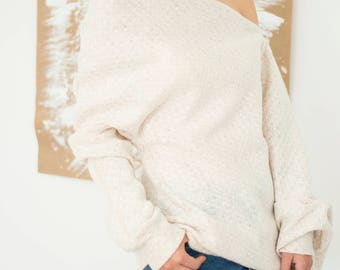 Minimalist Wool Sweater,Aesthetic Cothing,Boho Light Pink Sweater,Hippie Off Shoulder Clothing,Oversized Womens Blouse,ATTITUDE157,AT00841