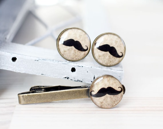 Moustache Cuff links and Tie Clip - Wedding Gifts for Groomsmen - Mustache party cufflinks and Tie Clip