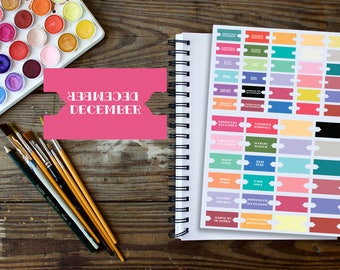 Blank and Month Name Tab Stickers Set for Midori, Hobonichi and other Planners