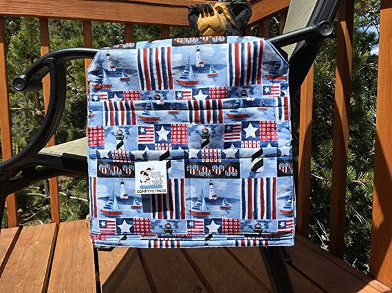 Lighthouse Chair Caddy, Beach Accessories, Nursing Home Gifts, Red White & Blue, Walker Bag, 4 of July Gifts, Size 13x13x27