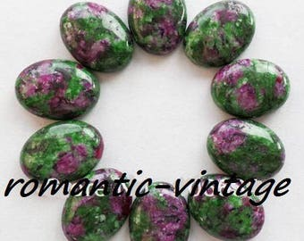 1 beautiful cabochon natural stone (fuchsite and Ruby inclusion) 25 * 18mm