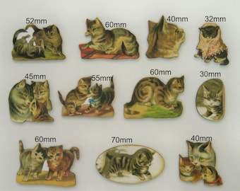 11 X Vintage cats on wood