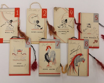 Vintage Bridge Booklet Tally Cards, Funny Sayings and Animals on Card, Bridge Score Cards, Used Tally Card Set of Eight, Tally With Tassel.