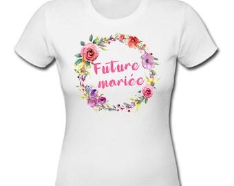 T-shirt bachelorette party, bachelor party girl, model Crown of flowers, bride, team bride