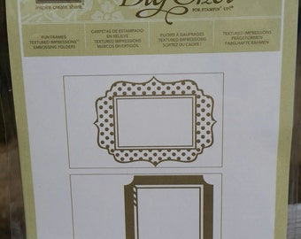 Stampin Up! FUN FRAMES Textured Impressions Embossing Folder, NEW, Retired, Set of 2