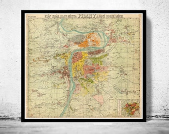 Old Map of Prague 1900  Czech Republic
