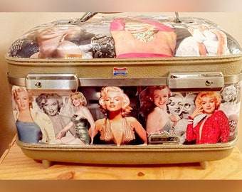 Upcycled Marilyn Monroe-Themed Train Case/Makeup Train Case/Vintage Travel