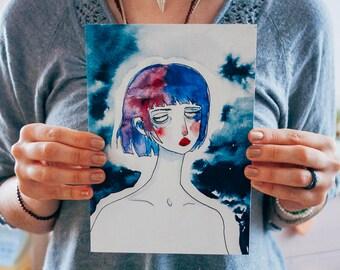 I've got the blues   art print A5