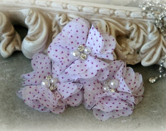 Lilac Polka Dot Chiffon Flowers with Pearls and Rhinestone Center, Headbands, Sashes, Crafting,Set of 3, approx. 2 inches across, FL-300