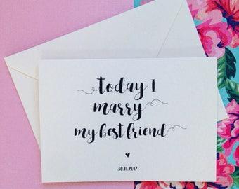 Today I Marry My Best Friend Wedding Card