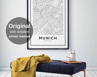 Munich map etsy munich city map print germany map print munich germany map wall art ccuart Image collections