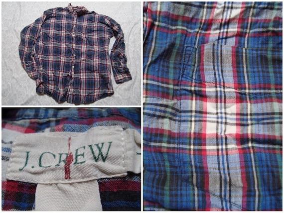 Vintage Retro Men's J.Crew Shirt Blue Red Green Plaid Distressed Buttonup Long Sleeve Large 2Ex0P