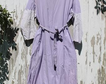 Light purple dress, half sleeve, mid length, two tone purple, tie waist, xl, cotton, pockets, peasant dress, hippie dress, 1980s, simple