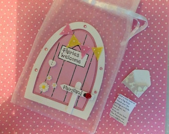 Fairy door, tooth fairy, girls gift, birthday gift, pink fairy door, tiny letter from the fairies, can be personalised, birthday gift