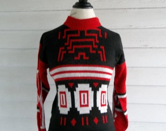 Vintage Sweater - 1980s Tribal Sweater