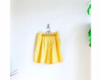 Canteloupe Vintage High Waisted Short / 80s Pleated Yellow Shorts / Fruity Pastel Orange Short
