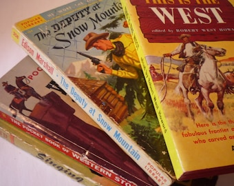 Retro Westerns  . . Fine stack of four shoot em up stories . . Best in the West - gift for readers - gift for cowboys
