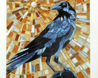 Crow Print - Limited Edition Giclee Print - Mosaic Art - Bird Print - Bird Art - Raven Print - Bird Mosaic Crow Art - Raven Art - Jackdaw