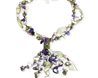 Freshwater Pearl Ribbon Necklace with Freshwater Pearls and Amethyst with 18 Inch Shell Clasp Gift Box Plus Free Shipping