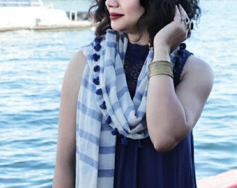 Blue cotton scarf in stripes with Tassels
