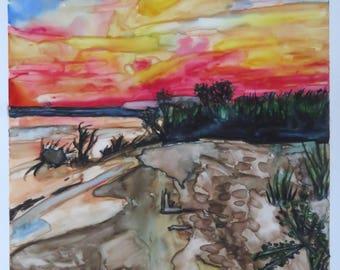 Original watercolor on Yupo Paper: Michigan Sunset