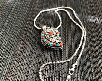 Tribal Sterling Silver Turquoise and Coral Necklace
