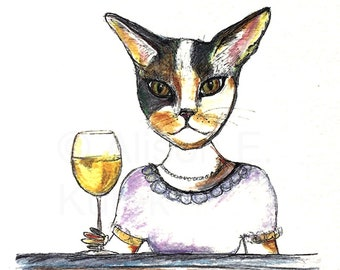 Calico Cat with Wine Watercolor Painting - 5x7 Watercolor Cat PRINT - Funny Cat in Clothes - Funny Cat Story - Gift for Cat Lover