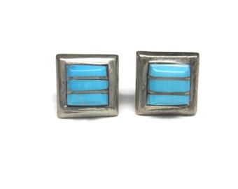 Vintage Sterling Zuni Raised Turquoise Inlay Stud Earrings