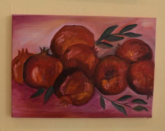 canvas, oil, christmas, pomegranates, nature, handrawing, unique