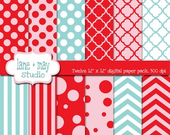 digital papers - red, pink and aqua blue polka dot, quatrefoil, chevron and stripe patterns - INSTANT DOWNLOAD