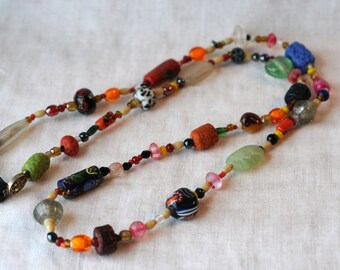 Vintage Trade Bead Style Necklace, End Of Day, Multi Color Glass Beads, Venetian Glass, KC014