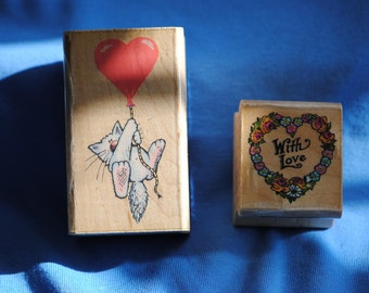 Cat Balloon 218G  1982      With Love 404D 1990   Rubber Stamps All Night Media  Vintage