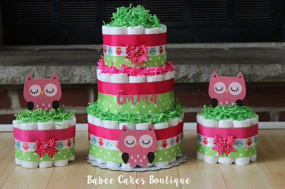 Items Similar To SET OF 3   3 Tier U0026 2 Mini Pink And Green Owl Diaper Cake,  Girls Owl Baby Shower,Peace And Love Woodland Baby Shower, Owl, Pink Green  Girl ...